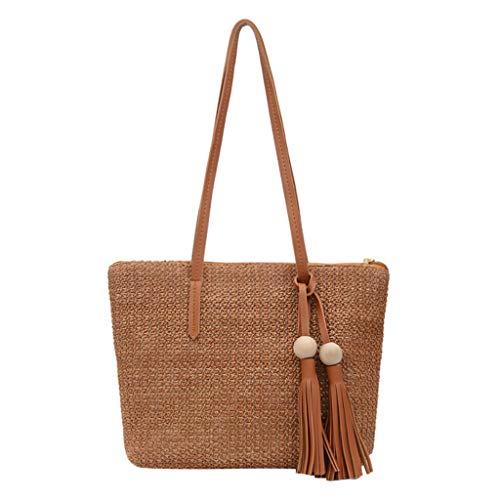 Handtasche Damen Stroh Einfache vielseitige Umhängetasche Große Kapazität Mode Geldbörse Münzfach Studententasche -