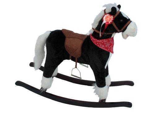 the-rocking-horse-co-deluxe-rocking-horse-plush-finish-with-saddle-rosette-bandana-children-s-black