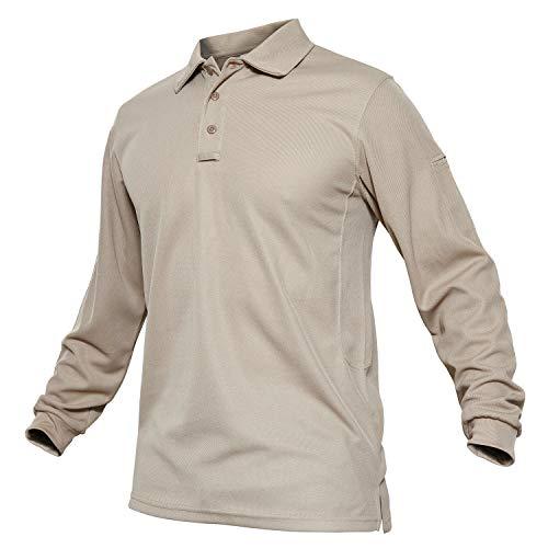 TACVASEN Herren Outdoor Sport Performance Polo Langarm Shirt Tctical Top Tee Shirt, Herren, Khaki, Small