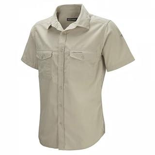 Craghoppers Herren Outdoor Reise Hemd Outdoor Reise Kiwi Kurzarm Hemd, Beige (Oatmeal), Gr. 48 (Herstellergröße: S)