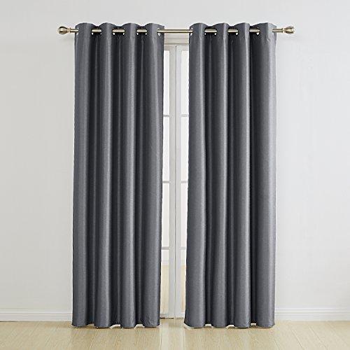Umi. Essentials 2 Stück Vorhänge Verdunkelung Ösengardinen mit Schaumbeschichtung 290x140 cm Dunkelgrau