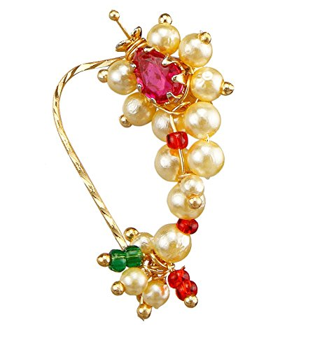9blings Maharashtrian bridal Style Pearl Ruby Gold Plated Copper Nose Ring  available at amazon for Rs.345