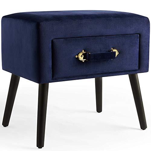 Beautify Hocker mit Stauraum Ottoman – Weicher Samt – 2-in-1 Funktion – Marineblau mit Messing Details & schwarzen Beinen – Sitzhocker/ Fußhocker/ Polsterhocker