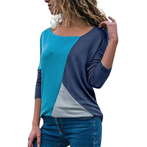 1cd151d2c88c4f Lazzboy Women Color Block V Neck Long Sleeve Patchwork T Shirt Blouse Top  Pullover(L