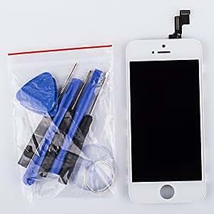 Ecran complet pour iphone 5s - Digitizer Ecran LCD complet + Vitre tactile remplacement + Bouton Home + Pièce intérieur (Blanc)