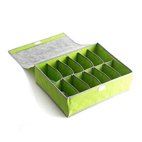Speicherbehälter Einfache Hausgut Schrank Unterwäsche Organisator Schublade Teiler Bambus Holzkohle 12 Mesh-Aufbewahrungsbox,Green,2Pcs