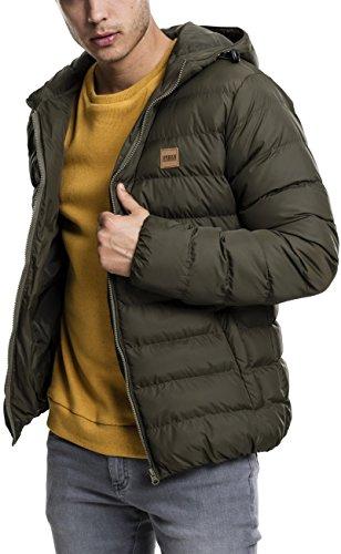 Urban Classics TB863 Herren Jacke Basic Bubble Jacket - gefütterte, leichte Steppjacke für Männer mit Kapuze und Logo-Patch - Farbe army green, Größe XXL (Jackets Royal Green)