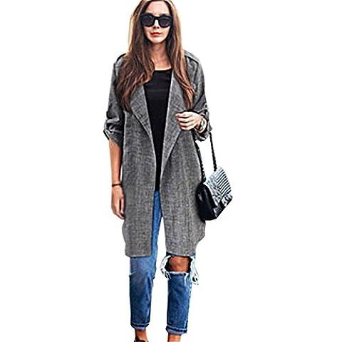 CYBERRY.M Femme Veste Longue Lache de Femmes Printemps Automne Gris Plus Size Cardigan Anorak Parka Outwear Manteau
