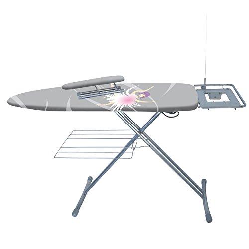 MSV 130023 Table à Repasser Luxe avec jeanette, gris avec la...