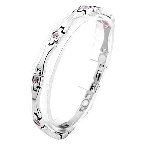 JOVIVI Damen Magnetarmband aus Edelstahl Pink Zirkonia Magnetische Armband Armreif Magnete Armband Armrief