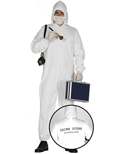 Polizei Kostüm Kriminaltechniker Spurensucher Gerichtsmediziner Overall für Herren Damen CSI Gr. M - L, Größe:L