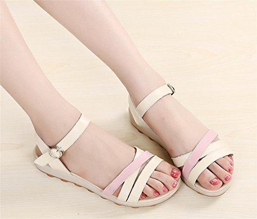 ALUK- Été - Flat avec des sandales à talons bas antidérapants ( couleur : Rose , taille : 38 ) Rose