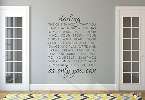 Yilooom Darling Quote Wall Art Decal Quote Words Lettering Decor Sticker Bedroom 12 Inch In Width -