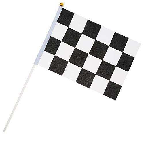 24 Stück Zielflagge 8 x 5,3 Zoll Racing Polyester Flags mit Kunststoff-Stick