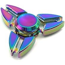 Hand Spinner Toy, Stillshine arco iris de colores de metal de alta velocidad Tri-Spinner juguete Spinner de mano Fidget EDC juguete de oficina para el estrés y alivio de ansiedad (D)