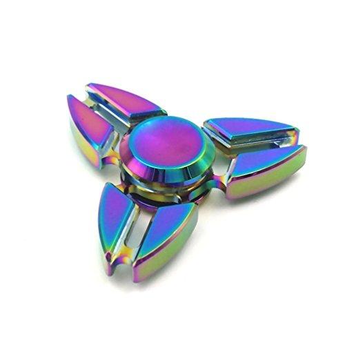 Preisvergleich Produktbild Hand Spinner Spielzeug - Regenbogen Metall Schnelle Geschwindigkeit Tri-Spinner Fidget Spielzeug für Stress und Angst Relief - EDC Office Spielzeug (D)