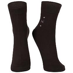 DUKK Men's Solid Dark Brown Ankle Length Socks