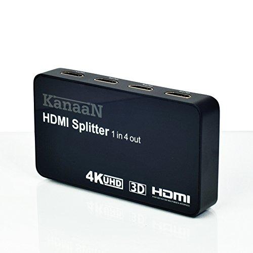 KanaaN Splitter 4K 1x4 HDMI - 1 Entrada HDMI y 4 Salidas HDMI | hasta 2160p, con Capacidad 3D | Fuente de alimentación incluida