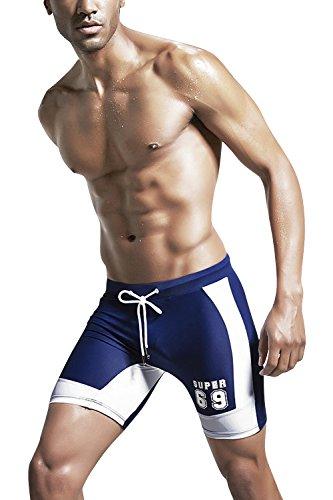 Dolamen Herren Badehose Badeshorts Kurze Hose Shorts Slip, Herren Badeanzug Swimming Trunks Schwimmhose Badekleid, Swimwear Bademode mit verstellbarem Tunnelzug innen Blau