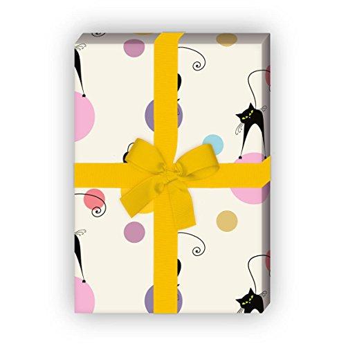 Fröhliches Katzen Geschenkpapier mit Polka Dots für tolle Geschenk Verpackung und Überraschungen (4 Bogen, 32 x 48cm)