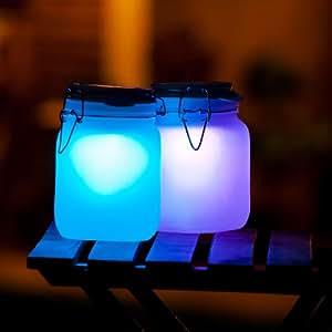 Sonne im Glas LED Solarleuchte m. Akku Farben: Orange oder RGB Wechsel