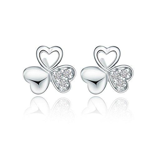 LANMPU Silbrig Ohrring Ohrringe aus 925 Sterling Silber Kleeblatt Ohrstecker für Frauen Damen Kinder Mädchen Geburtstag Valentinstag Geschenke