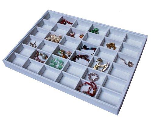 Yudu® Vorlagebrett Schmucklade Schaukasten mit 36 Fächer weiss