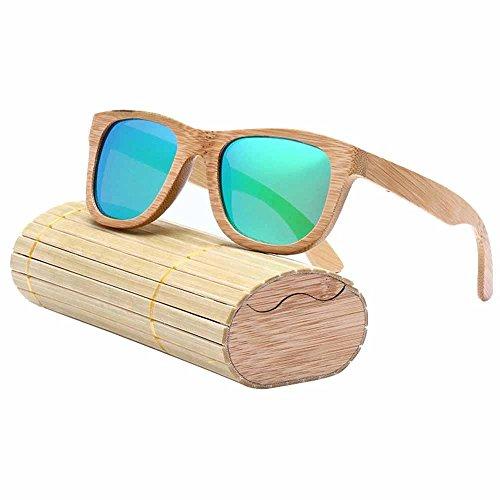 AOLVO - Gafas de Sol de bambú, polarizadas, 100% protección UV400, para Hombre y Mujer con Caja de Almacenamiento, Verde