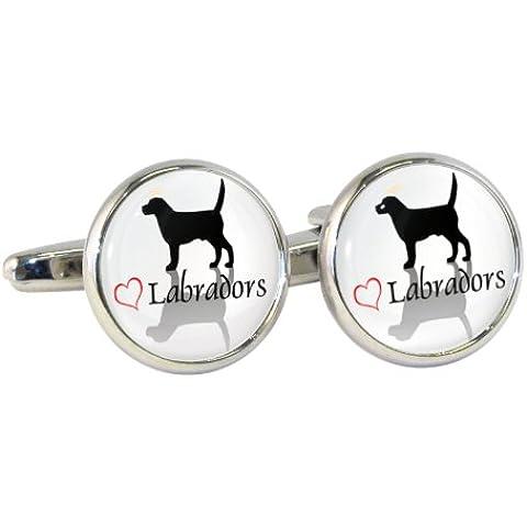 Elegante Design Labradors Cuff-Daddy-Gemelli a forma di
