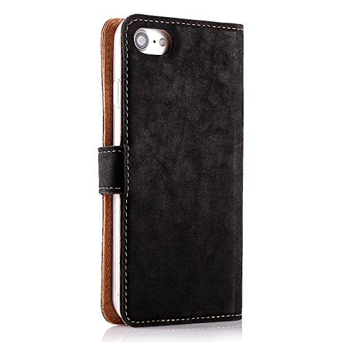 """Apple iPhone 6 / 6s (4.7"""") Premium Ledertasche Schutzhülle Wallet Case aus Nubukleder mit Kreditkarten / Notizen Fachern (Burgund) von Surazo® Vintage Kollektion Schwarz"""