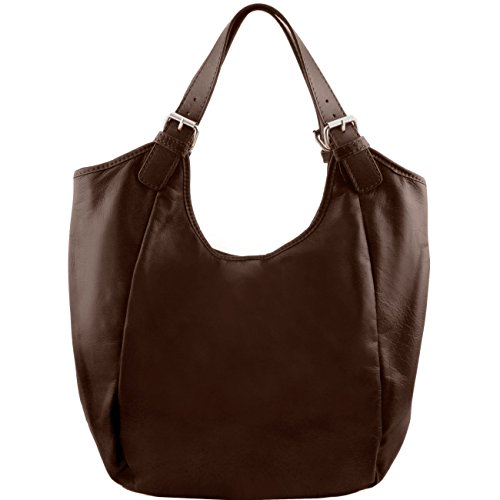 Tuscany Leather Gina - Borsa shopping donna in pelle Nero Borse donna a tracolla Testa di Moro