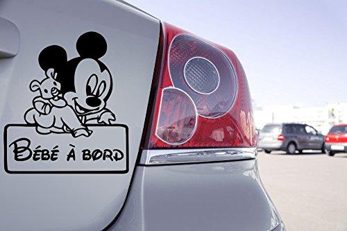 Sticker Bébé à Bord Mini Mikey Walt Disney - 13cm x 15cm, Noir