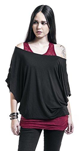 Black Premium by EMP Lace Bat Double Layer T-shirt Femme noir/bordeaux noir/bordeaux