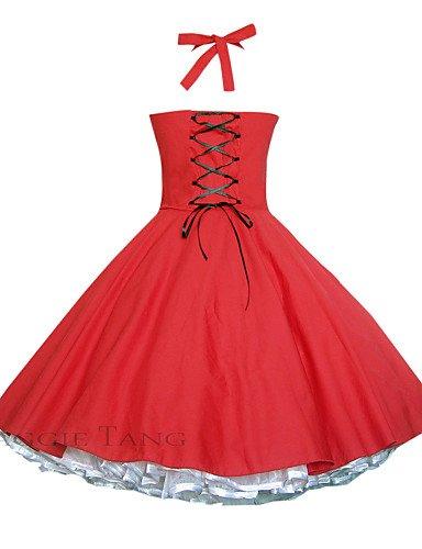 PU&PU Robe Aux femmes Vintage / Soirée , Couleur Pleine Licou Mi-long Coton red-s