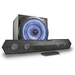 Trust Gaming GXT 668 Tytan Enceinte PC 2.1 Gamer Barre de Son avec Caisson de Basses pour Ordinateur (120 Watt), Led Lumineuse - Noir/Bleu