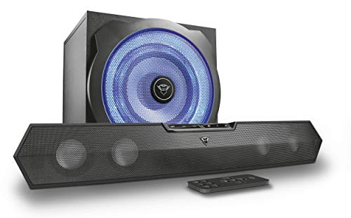 Trust Tytan Gaming GXT 668 Soundbar 2.1 con Set Illuminato LED BLU Subwoofer e Altoparlanti, Nero