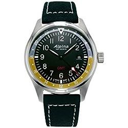 Alpina Geneve Startimer Pilot AL-247BBG4S6 Reloj de Pulsera para hombres Segundo Huso Horario