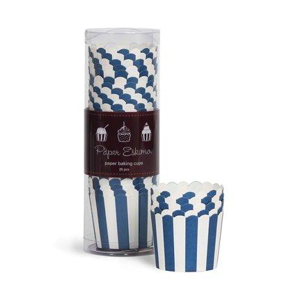 25 Blau gestreifte Back- & Eis-Förmchen – Cupcake-Förmchen