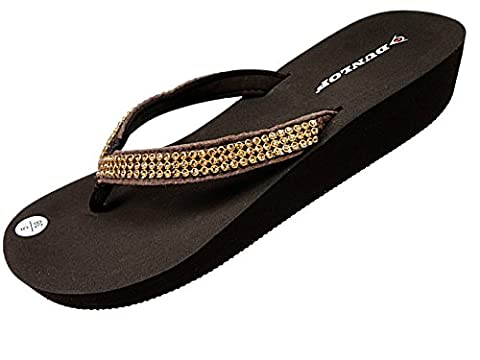 Dunlop Womens Low Wedge Heel Flip Flops - Brown Diamante - UK 3 - EU 36 - US 6