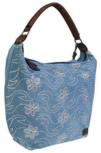 Stefano BERNARDO BOSSI Jeans Tasche Shopper Hobo Bag Schultertasche Umhängetasche Denim verschiedene Modelle (Hobo Bag Blumen) -