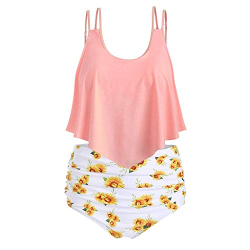 BBring Damen Mode Sonneblume Muster Zweiteiliger Badeanzug Träger Rüschen Bauchweg Tankini Hohe Taille Bikini Hose (XL, Rosa)