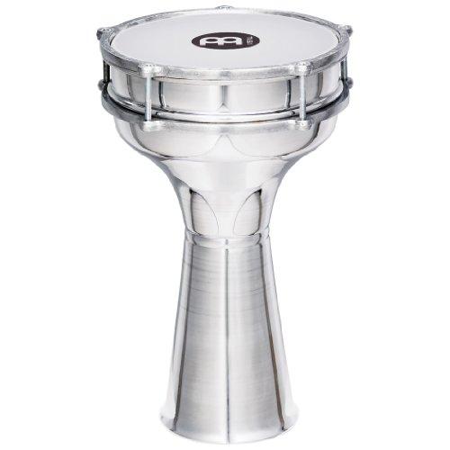 Meinl Percussion HE-104 Aluminium Darbuka mit Kunststofffell (glatt), 20,32 cm (8 Zoll) Durchmesser, silber