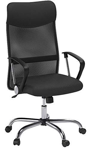 CLP Bürostuhl Washington V2 höhenverstellbarer Drehstuhl mit Wippfunktion | Schreibtischstuhl mit Netzbezug I stabiles Metall Drehkreuz Schwarz