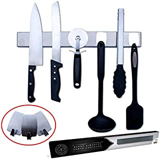 Na Cuisine Porte-Couteaux Magnétique 40 cm - avec 3 Crochets pour Ranger des Ustensiles en Plastique ou Silicone - Double Possibilité de Fixation au Mur par ADHESIF ou VIS - Barre Aimantée