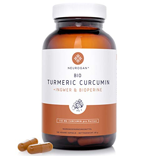 NEU! Neurogan´s Bio-Turmeric-Curcumin-Kapseln mit Ingwer & Bioperin (Schwarzer Pfeffer) / hochdosierte Mischung 95% Curcumin/Laborgeprüft in Dtl. / mit reinen Kurkuminoiden / 120 vegane Kapseln