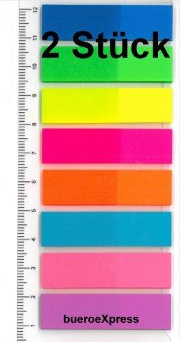 Pagemarker mit Lineal 12x45mm, 8 Farben durchgefärbt, Haftstreifen Notes Index