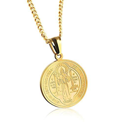 MingXinJia Italienische Katholische Christliche Religiöse Schmuck Edelstahl Halskette Neutral Schmuck, Gold