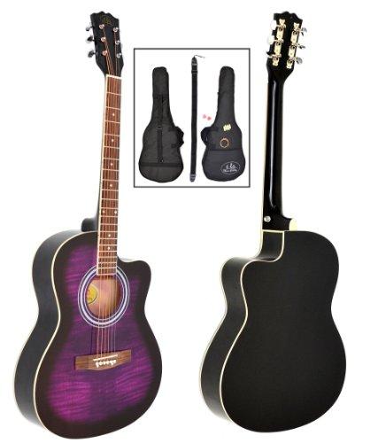 ts-ideen - Guitarra acústica western (4/4, incluye funda acolchada, correa, cuerdas de repuesto y silbato afinador), color negro y lila
