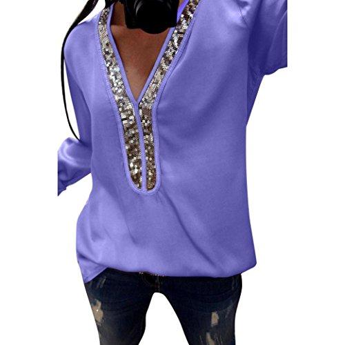 ESAILQ Damen T-Shirt Ladies Extended Shoulder Tee, Baumwollshirt mit Turn-up Ärmeln(L,Lila)