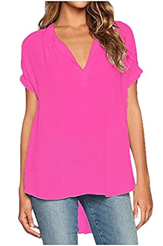 Fanmay Chiffon Damen T-shirt vorne Kurz Hinten Lang Kurz ärmel V-Ausschnitt Art Elegant Top Tops Langshirt Shirt Shirts Blusenshirt Pullover Oberteile Sweatshirt (XXXL,